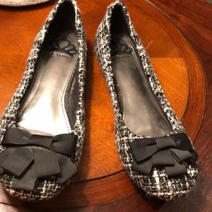 Fergalicious Adele Black White Tweed Ballet Flat 6